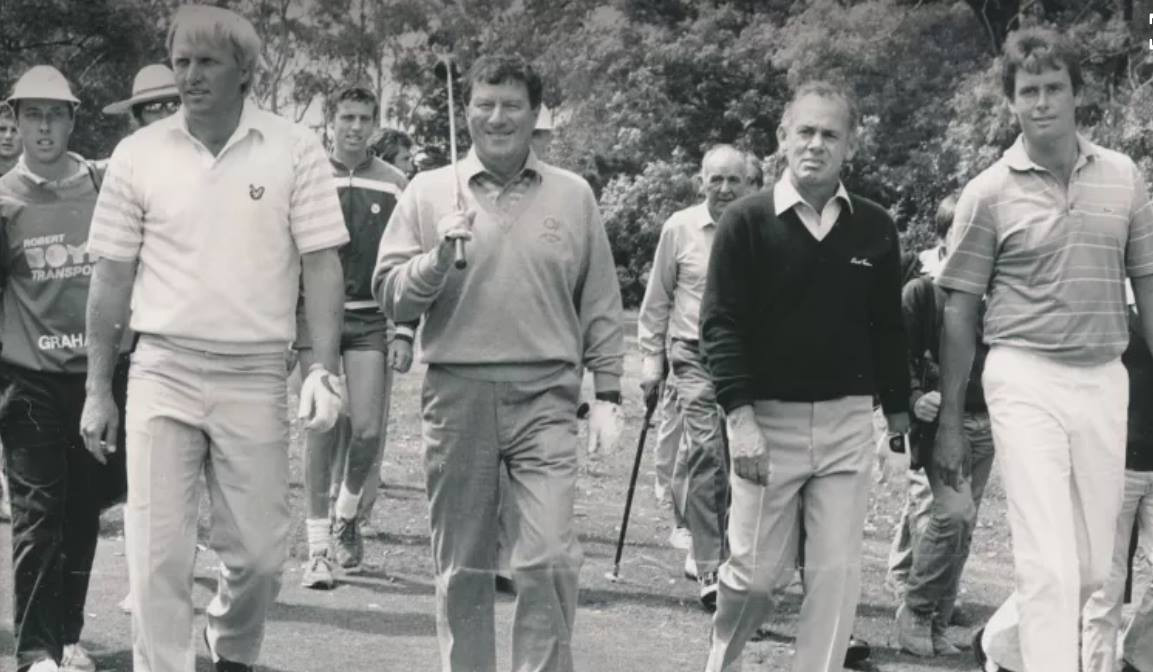 Greg Norman with Peter Thomson, David Graham and Ian Baker-Finch